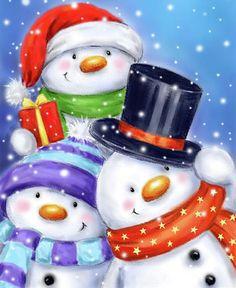 Manga, Decoupage, Winter, Christmas, Penguins, Snowman, Snowman Images, Snow Man, Christmas Cookies