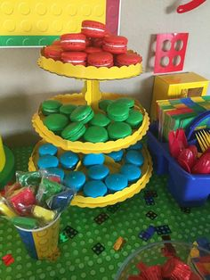 Colorful macarons at a Lego birthday party! See more party ideas at CatchMyParty.com!