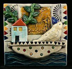 Ceramic Tile , Bird on Houseboat