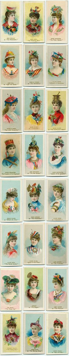 Crazy Vintage Hat Ladies! From Cigarette Card Collection: Fancy Dress Ball Costumes, ca. 1885-1900.