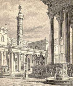 A reconstruction view of the Trajan's Column in Trajan's Forum. Roman Architecture, Architecture Drawings, Ancient Rome, Ancient Greek, Trajan's Column, Emperor Augustus, Rome Antique, Picture Engraving, Roman Republic
