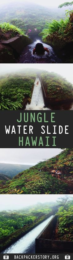 The Jungle Water Slide Hawaii is located on the north tip of the Big Island of Hawaii. Travel And Tourism, Usa Travel, Hawaii Travel, Travel Guides, Travel Tips, Go Outdoors, Travel Plan, Travel Articles, Freaking Awesome