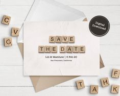Save The Date Cards  Downloadable Card  Wedding Announcement image 1 Happy Birthday Printable, 30th Birthday Cards, 65th Birthday, Scrabble Tile Art, Scrabble Letters, Announcement Cards, Wedding Announcements, Printable Cards, Printables