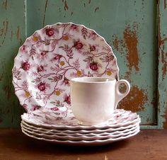 Vintage Copeland Spode Plates, Set of Six,  Rosebud Chintz Pattern, Dessert or Salad, Pink Roses Dinnerware, Cottage Kitchen Farmhouse Decor