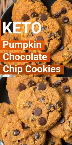 These Keto Pumpkin Chocolate Chip Cookies are about one net carb each! The ultimate low carb Fall dessert! And so easy to make! These Keto Pumpkin Chocolate Chip Cookies are about one net carb each! The ultimate low carb Fall dessert! And so easy to make! Keto Friendly Desserts, Low Carb Desserts, Fall Desserts, Low Carb Recipes, Dessert Recipes, Pumpkin Recipes Low Carb, Healthy Pumpkin Desserts, Frozen Desserts, Recipes Dinner