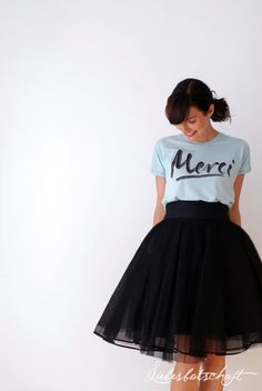 graphic t+fluffy high waisted tulle skirt