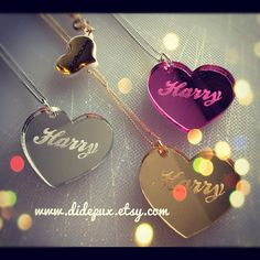 PETIT HEART ENGRAVED  name necklace laser cut by didepux on Etsy