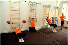 Swedish Ladder for Exercise Home Multi Gym, Home Gym Set, Diy Home Gym, Diy Gym Equipment, Gym Setup, Backyard Gym, Small Playroom, Clinic Interior Design, Rehab Facilities