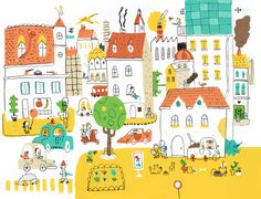 one Dino and me by Jamie Oliver Aspinall, via Behance Illustration Sketches, Drawing Sketches, Art Drawings, Landscape Drawings, Children's Picture Books, Cute Animal Drawings, Jamie Oliver, Childrens Books, Miniature Houses