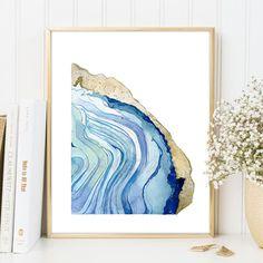Agate Print Set of 2 Blue Brown Watercolour Gem Stone illustration Painting Rock Quartz Gemstone Modern Abstract Home Decor DIGITAL DOWNLOAD Blue Gemstones, Blue Brown, Watercolour, Agate Slices, Quartz, Graphic Design, Rock, Abstract, Digital