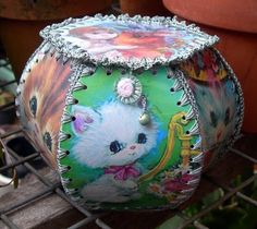 box made from old greeting cards~~we have several of these treasures in the family crafted by our Aunts and Grandmother in many styles both boxes and baskets