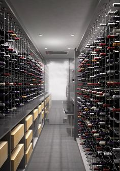 Contemporary grey cable custom wine cellar featuring the Cable Wine System.