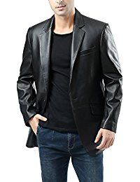 Men's John Two-Button Lambskin Leather Blazer (Regular Tall & Short) Mens Leather Blazer, Mens Leather Coats, Long Leather Coat, Lambskin Leather, Leather Jackets, Leather Pants, Smart Casual Outfit, Casual Outfits, Mens Fashion Suits