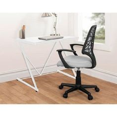 Urban Shop Z-Shaped Student Desk, Sturdy Metal Frame, White