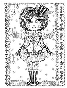 Instant Download 5 Coloring pages Gothic Angels от ChubbyMermaid