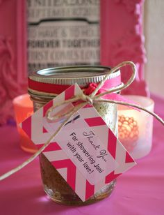 belle maison: Beach Bridal Shower :: Navy & Pink Chic / homemade sugar body scrub favors