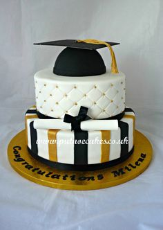 Two tier graduation cake Graduation Party Planning, Graduation Decorations, Graduation Cake, 2 Tier Cake, Tiered Cakes, Frosting Recipes, Cupcake Recipes, Specialty Cakes, Grad Parties