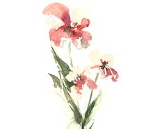 Abstract Flowers Watercolor Painting Art Print, Pink Green Floral Art, Modern Abstract Wall Art