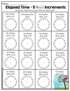 Elapsed Time- 5 Minute Increments. There are so many activities in the NO PREP Packets for January to teach core concepts!