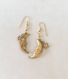 Excited to share this item from my shop: Moon Phase Earrings Vintage Man in the Moon Crescent Earrings Moonface Earrings Celestial Earrings Galaxy earrings Celestial Jewelry Face Earrings, Moon Earrings, Etsy Earrings, Diamond Earrings, Beaded Earrings, Gold Bridal Earrings, Unique Earrings, Vintage Earrings, Vintage Jewelry