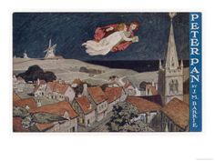 Peter Pan and Wendy Fly Over the Rooftops in a Poster to Advertise the Stage Show Giclee Print at AllPosters.com