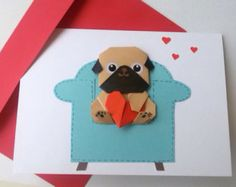 This cute pug couple can be used as a wedding, engagement or love card. The pugs are origami fold by me and glued on the card. They pop up a little. A card made with love and is sure to be treasured as a keepsake forever. Its an origami art card and can be framed.  You can CHOOSE; The male and female like photo 1 or photo 2  The card measures 6.25x4.25 (15.5x11cm). The inside is blank for you to add your personal message. It will come with a matching envelope in a protective cellophane bag…