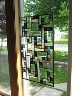 Vibrant Stained Glass Window Panel Abstract Geometric EBSQ Artist Modern Stained Glass, Stained Glass Projects, Stained Glass Art, Blown Glass Art, Sea Glass Art, Glass Wall Art, Glass Vase, Leaded Glass Windows, Mosaic Windows