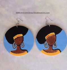 Afro Black Woman Wooden Art Large Circle Earrings by SheaKreations, $15.00