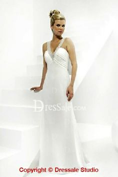Hot Sale Clingy Style White Wedding Dress Features Beading Detailed V-Neck and Sleek Long Skirt