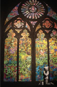 Stained Glass Window Graffiti by Banksy Canvas Print Bansky is one of Londons dopest street artists. I so wish I could go to Europe and meet this guy. -Art Appreciator