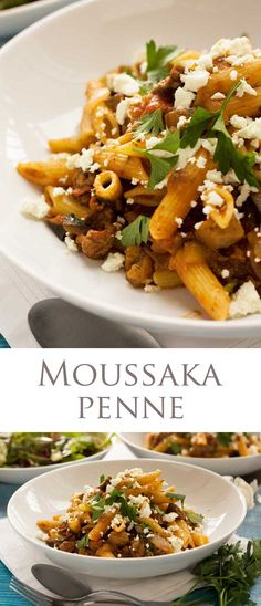 Moussaka pasta - all the flavours of a delicious classic Greek moussaka but without the hassle. Ready in less than 30 minutes! Greek Recipes, Meat Recipes, Pasta Recipes, Italian Recipes, Vegetarian Recipes, Dinner Recipes, Cooking Recipes, Moussaka, Pot Pasta