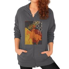 I Love Books Don Quixote Zip Hoodie (on woman)