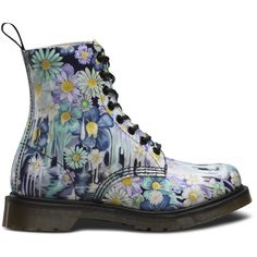 slime floral pascal ($150) ❤ liked on Polyvore featuring shoes, multi colored shoes, floral print shoes, floral pattern shoes, multi color shoes and dr. martens