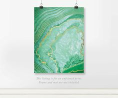 "Green Crystalized Agate Real Foil Office Art Print. Printed in shades of green. Agates are characterized by their fineness of grain and brightness of color. This would look amazing in a bedroom or cool office. PRICES • 5x7"" or A5 148 x 210 mm – Real foil print for $10.00 USD • 8x10"" or A4 210 x 297 mm – Real foil print for $20.00 USD • 11x14"" or A3 297 x 420 mm – Real foil print for $30.00 USD • Visit our other digital shop for $5.00 instant printables: STYLISTdigital.etsy.com  **SALE** BUY…"