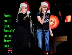 a fun photo edit of Stevie   ☆♥❤♥☆ ~        and Chrissie Hynde onstage wearing Santa caps; inspired by photos of Stevie and Chrissie during Stevie's '24 Karat Gold' US 2016 tour and a duet they sang together