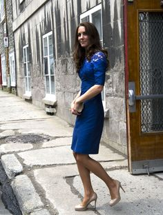 Kate Erdem Moralioghi Blue Lace Dress Quebec 3 July 2011