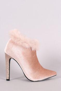 Shoe Republic LA Velvet Faux Fur Booties
