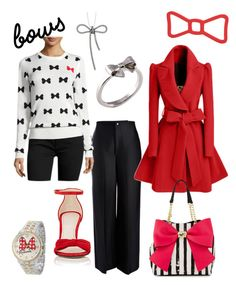"""""""bows"""" by christychase on Polyvore featuring Joseph, French Connection, WithChic, Barneys New York, Joy Everley, Marc Jacobs, Disney and Betsey Johnson"""