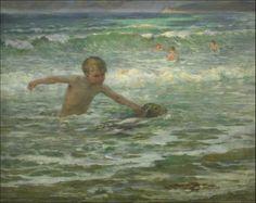 """""""Gamins de Wissant"""" 1923 par Virginie Demont-Breton (1859-1935) Titrée au dos, 65 x 81 cm"""
