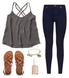 Untitled #8 by ayemallen on Polyvore featuring polyvore, fashion, style, 7 For All Mankind, Hollister Co., Billabong, Alex and Ani, Essie and clothing