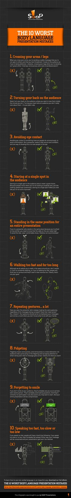 Psychology infographic & Advice Interviews: The 8 Worst Body Language Mistakes — INFOGRAPHIC Image Description Interviews: The 8 Worst Body Language Coaching, Self Development, Personal Development, Leadership, Presentation Skills, Public Speaking, Communication Skills, Body Language, Things To Know
