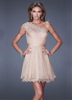Charming Silk-like Chiffon & Lace One Shoulder Neckline Short A-line Homecoming Dress