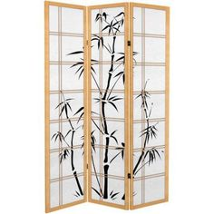 6' Tall Canvas Bamboo Tree Room Divider, Beige