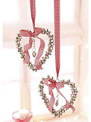 Silver bell hearts with gingham bows