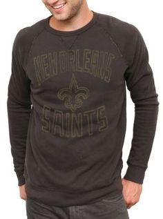 Mens New Orleans Saints Black Fleece Crew Sweatshirt