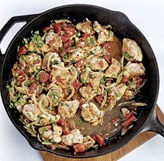 Chicken Braised with Red Wine Vinegar and Tomatoes  Just made this. It's delicious! Nice for informal company meal, too. Use the best red wine vinegar you can find!