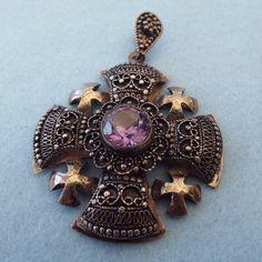 Ornate Sterling Silver Jerusalem Cross Pendant Beautiful Gemstone from antiquetreasurechest on Ruby Lane