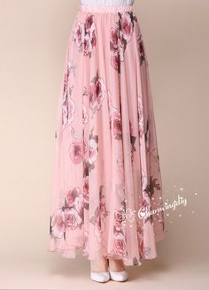 32 Colors Pink Flowers Chiffon Skirt Long Maxi by CHARMINGDIY beach 110 Colors Pink Flowers Chiffon Skirt Long Maxi Sundress Beachdress Holiday Dress Women Summer Pleat Dress Beach Skirt Plus Size Dresses Summer Dresses For Women, Trendy Dresses, Plus Size Dresses, Dresses For Work, Chiffon Rock, Chiffon Skirt, Dress Skirt, Pleated Maxi, Floral Dress Outfits