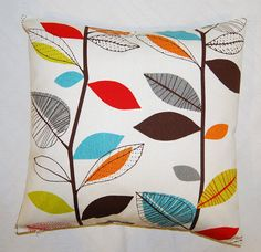 pillow cover red blue orange yellow  green brown grey leaves, cushion cover 18 x 18 inch
