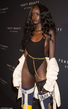 Gym-honed: Her leotard was cut highly to expose her hip bone, and the backless design enabled Duckie to show off her toned torso Beautiful Dark Skinned Women, Beautiful Black Girl, Beautiful Women, Black Girl Magic, Black Girls, Black Goddess, Brown Skin Girls, Dark Skin Beauty, African Beauty